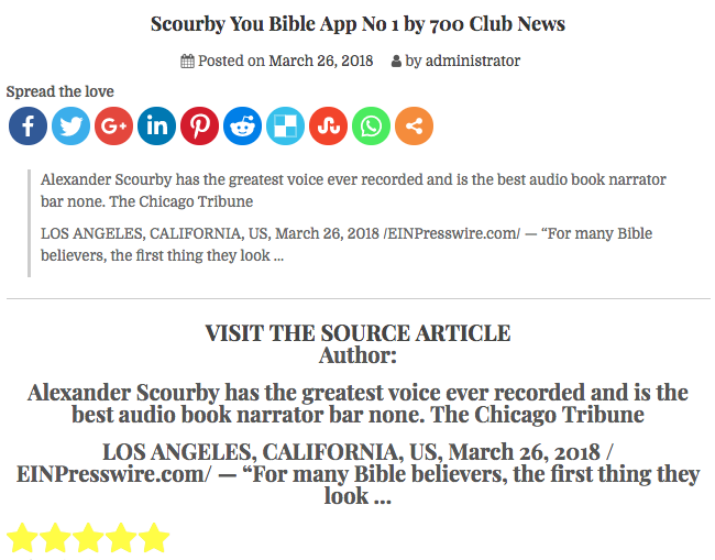 THEVOLKSWAGEN.COM says: Scourby You Bible App No 1 by 700 Club News