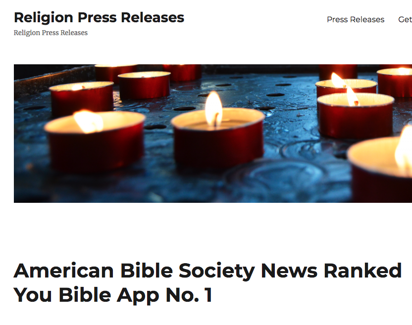 ReligionPressReleases.com Says: American Bible Society News Ranked You Bible App No. 1