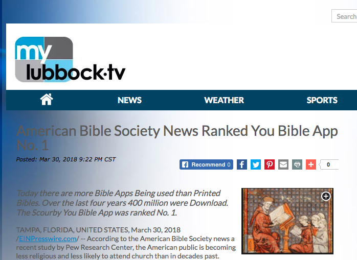 MyLubbockTV says: American Bible Society News Ranked You Bible App No. 1