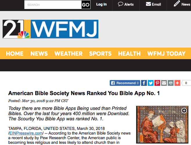 wfmj.com says: American Bible Society News Ranked You Bible App No. 1