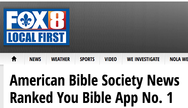 Fox8live says: American Bible Society News Ranked You Bible App No. 1 – FOX 8 …