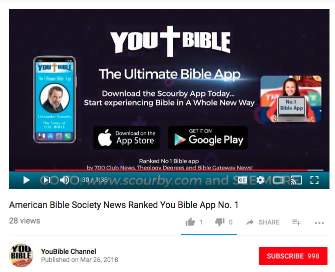 Youtube previews: American Bible Society News Ranked You Bible App No. 1