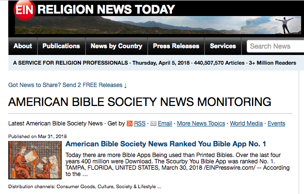 EINNews says: American Bible Society News Ranked You Bible App No. 1