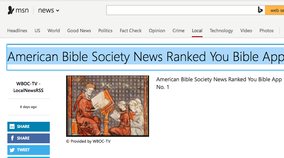 msn.com says: American Bible Society News Ranked You Bible App No. 1