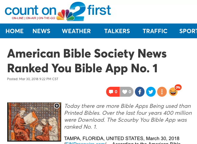nbc-2.com says: American Bible Society News Ranked You Bible App No. 1