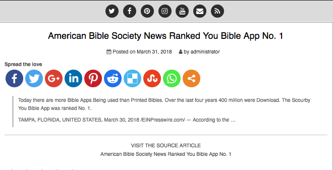 VideoGame.guide says:  American Bible Society News Ranked You Bible App No. 1