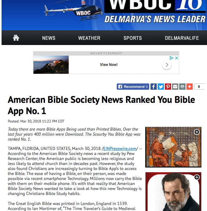 wboc.com says:  American Bible Society News Ranked You Bible App No. 1